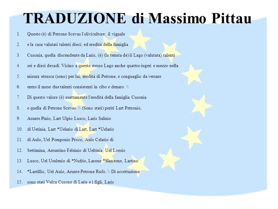 TRADUZIONE di Massimo Pittau 1.Questo (è) di Petrone Scevas l'olivicultore: il vignale 2.e la casa valutati talenti dieci; ed eredità della famiglia 3