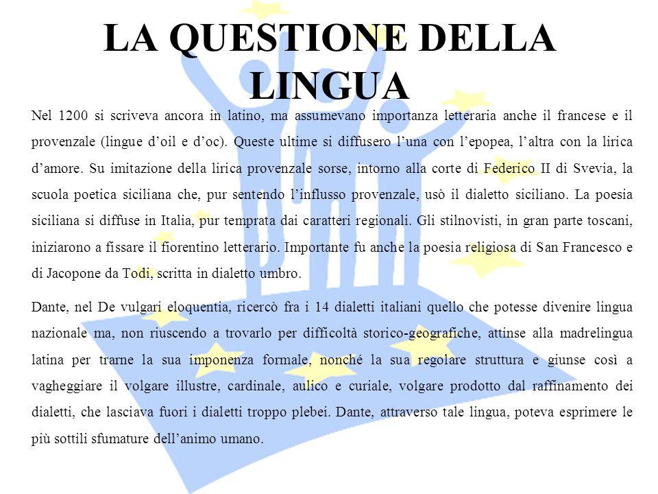 LA QUESTIONE DELLA LINGUA Nel 1200 si scriveva ancora in latino, ma assumevano importanza letteraria anche il francese e il provenzale (lingue doil e