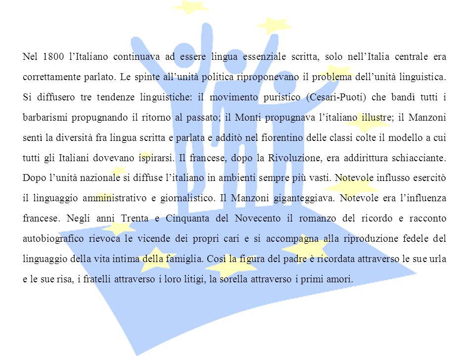 Nel 1800 lItaliano continuava ad essere lingua essenziale scritta, solo nellItalia centrale era correttamente parlato. Le spinte allunità politica rip