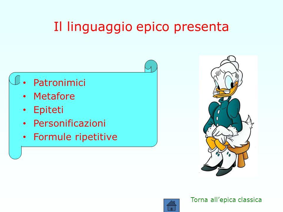 Il linguaggio epico presenta Patronimici Metafore Epiteti Personificazioni Formule ripetitive Torna allepica classica