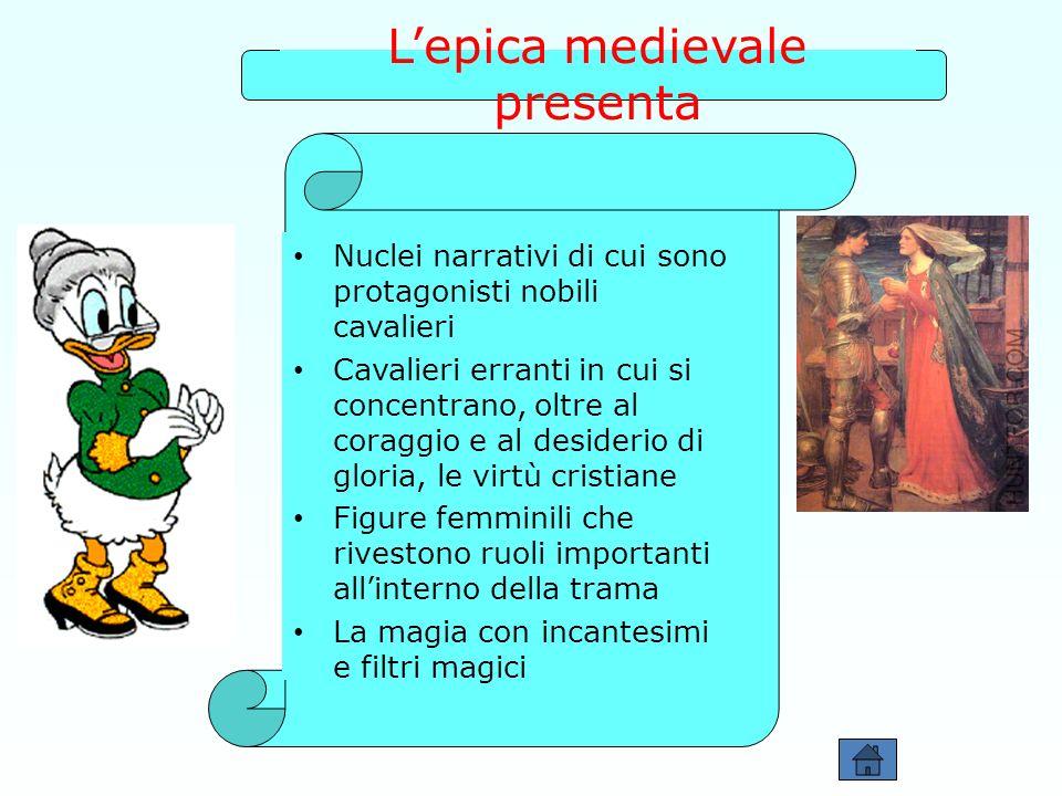Lepica medievale presenta Nuclei narrativi di cui sono protagonisti nobili cavalieri Cavalieri erranti in cui si concentrano, oltre al coraggio e al d