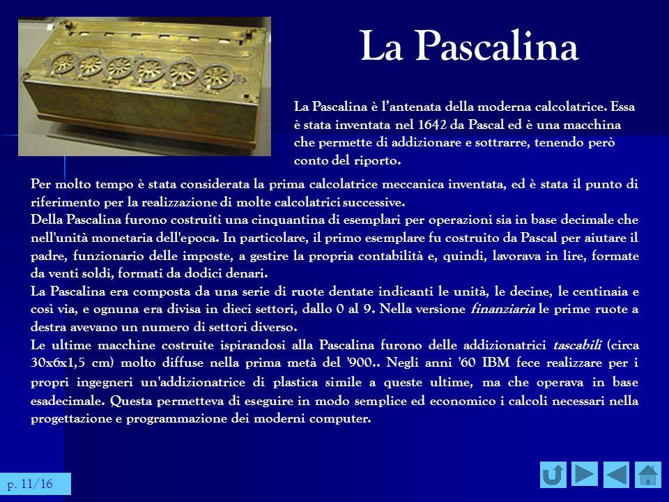 La Pascalina Per molto tempo è stata considerata la prima calcolatrice meccanica inventata, ed è stata il punto di riferimento per la realizzazione di
