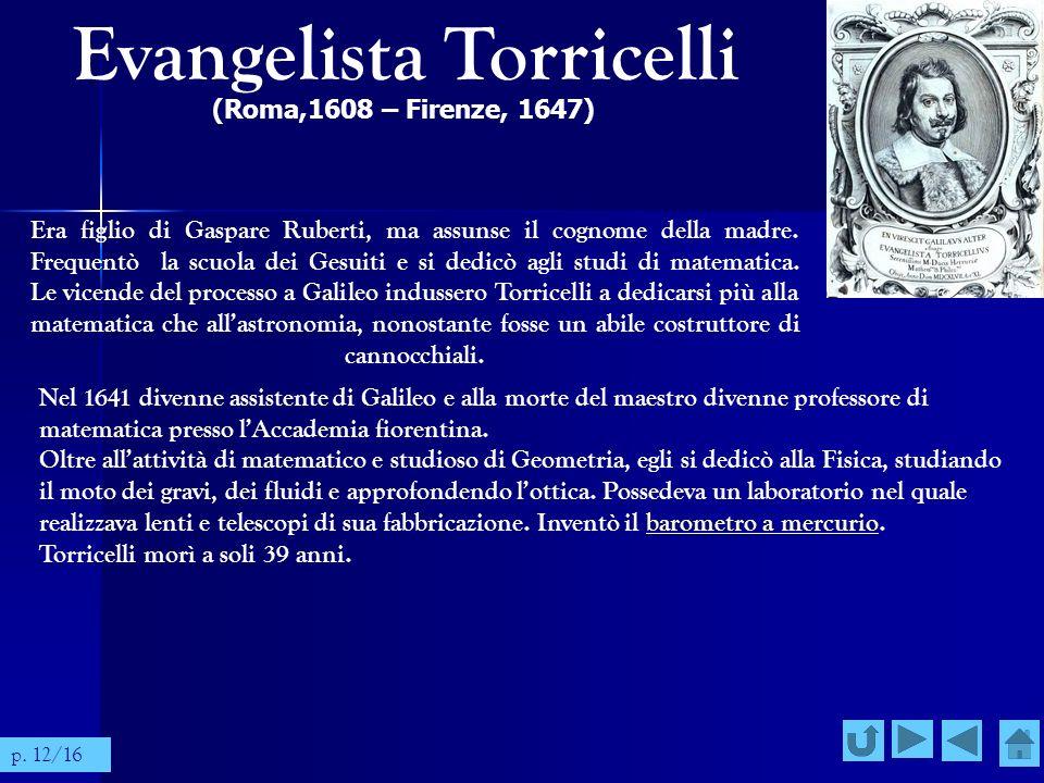Evangelista Torricelli (Roma,1608 – Firenze, 1647) Era figlio di Gaspare Ruberti, ma assunse il cognome della madre. Frequentò la scuola dei Gesuiti e