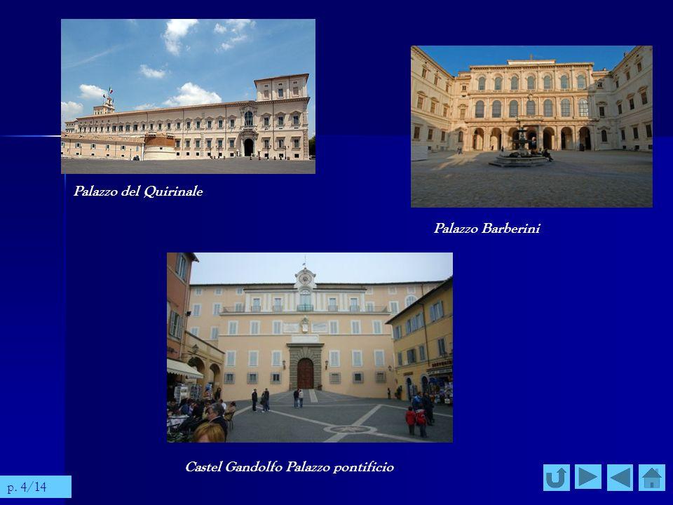 Palazzo del Quirinale Palazzo Barberini Castel Gandolfo Palazzo pontificio p. 4/14