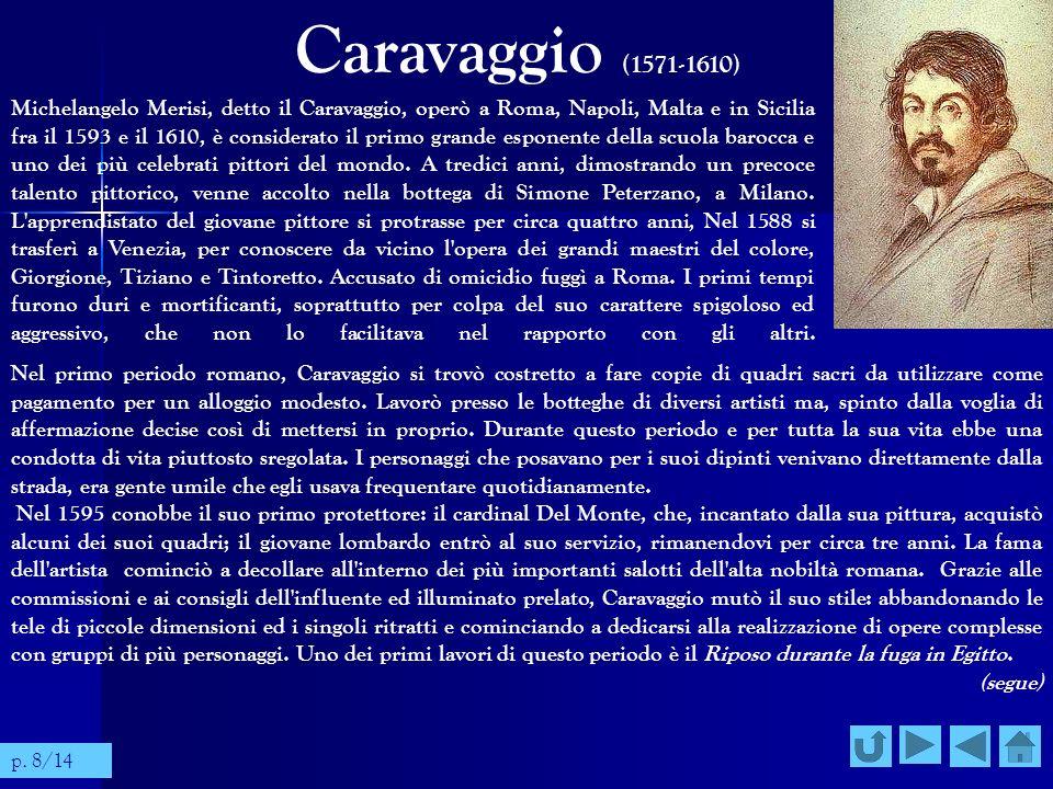Caravaggio (1571-1610) Michelangelo Merisi, detto il Caravaggio, operò a Roma, Napoli, Malta e in Sicilia fra il 1593 e il 1610, è considerato il prim