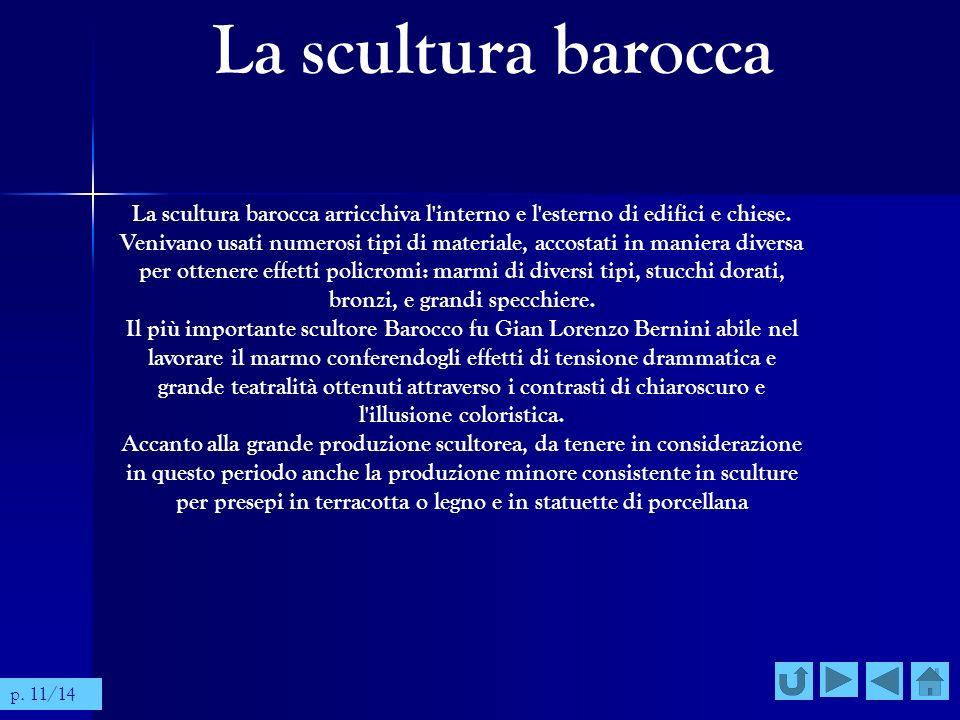 La scultura barocca La scultura barocca arricchiva l'interno e l'esterno di edifici e chiese. Venivano usati numerosi tipi di materiale, accostati in