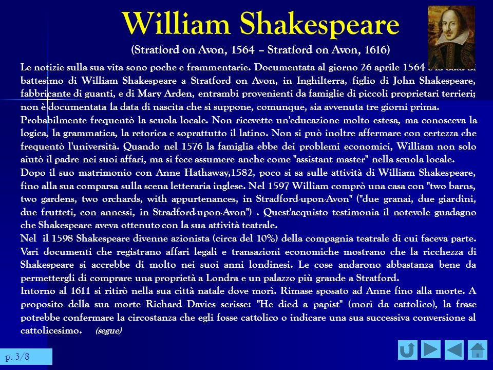 William Shakespeare (Stratford on Avon, 1564 – Stratford on Avon, 1616) Le notizie sulla sua vita sono poche e frammentarie. Documentata al giorno 26