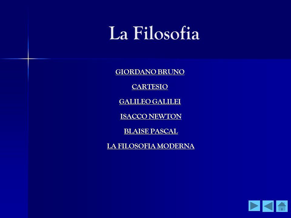 La Filosofia GIORDANO BRUNO CARTESIO GALILEO GALILEI ISACCO NEWTON BLAISE PASCAL LA FILOSOFIA MODERNA