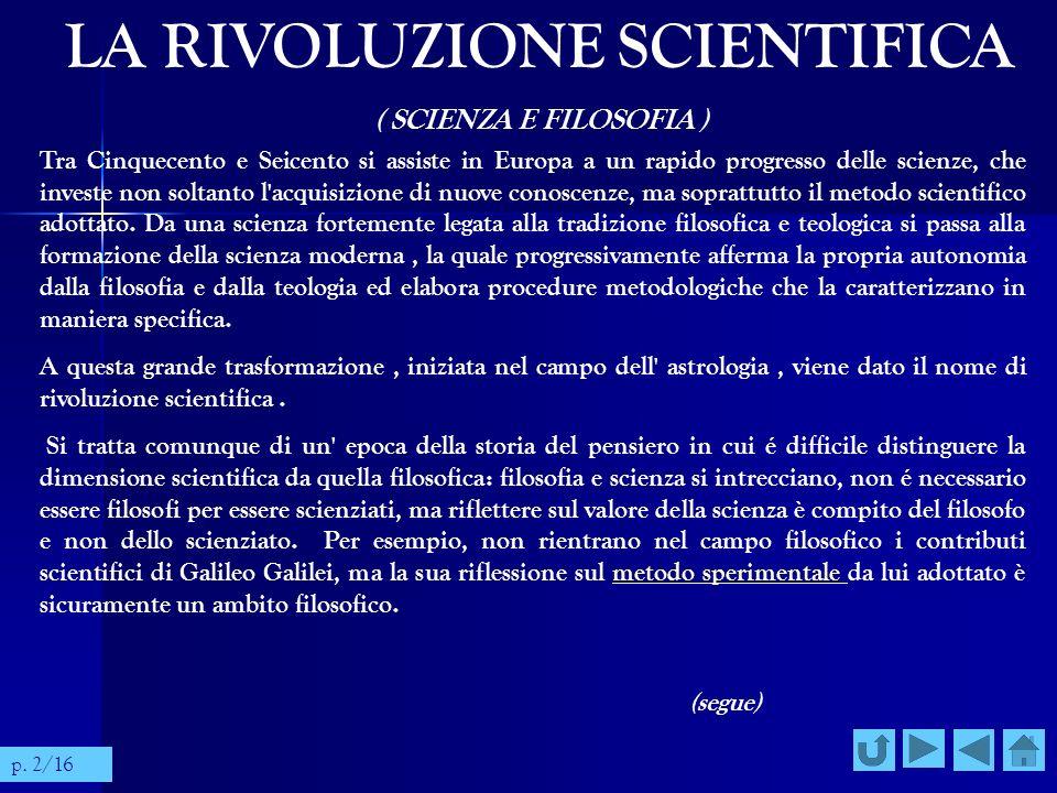LA RIVOLUZIONE SCIENTIFICA ( SCIENZA E FILOSOFIA ) Tra Cinquecento e Seicento si assiste in Europa a un rapido progresso delle scienze, che investe no