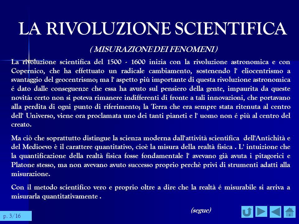 LA RIVOLUZIONE SCIENTIFICA ( MISURAZIONE DEI FENOMENI ) La rivoluzione scientifica del 1500 - 1600 inizia con la rivoluzione astronomica e con Coperni