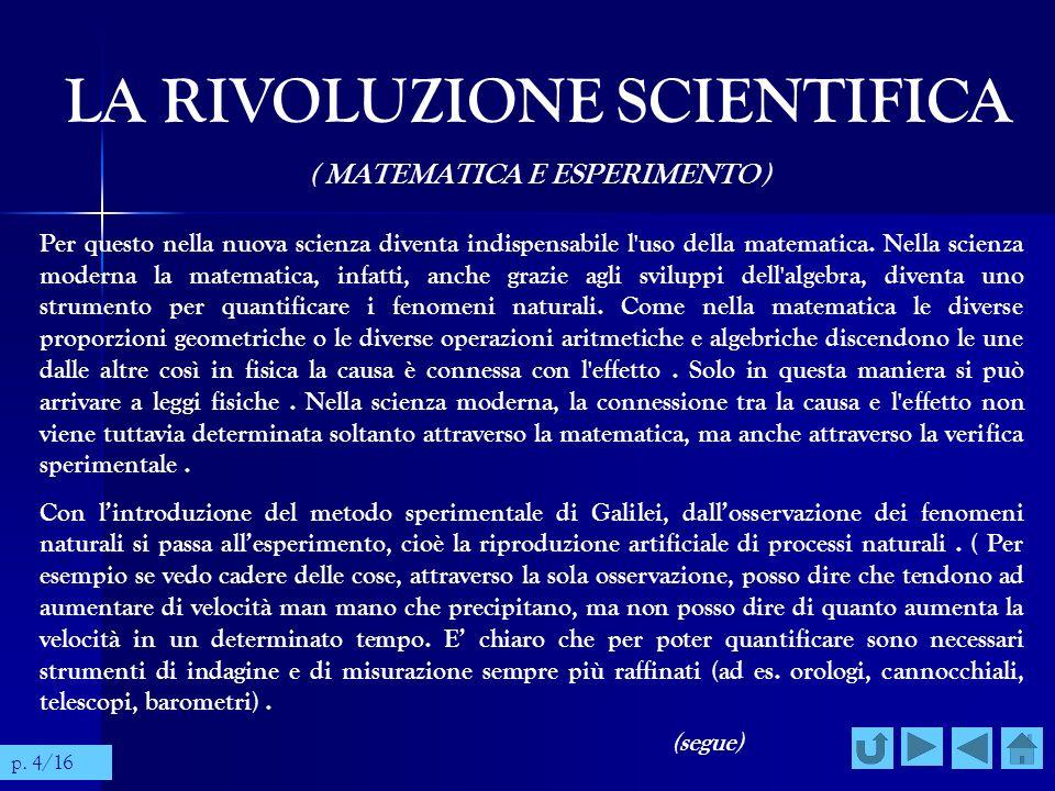 LA RIVOLUZIONE SCIENTIFICA ( SCIENZA E TECNICA ) Si stabilisce quindi una stretta connessione tra scienza e tecnica, sia nel senso che il progresso della scienza dipende sempre più dal progresso tecnologico che appronta gli strumenti necessari alla ricerca, sia nel senso che, all inverso, un maggiore sviluppo tecnologico permette alla scienza di conseguire risultati più apprezzabili; lo si può vedere bene in Galileo: é solo grazie al telescopio che dimostra certe verità astronomiche, ma é solo grazie ad alcune conoscenze di ottica geometrica che riesce a costruire telescopi particolarmente raffinati.