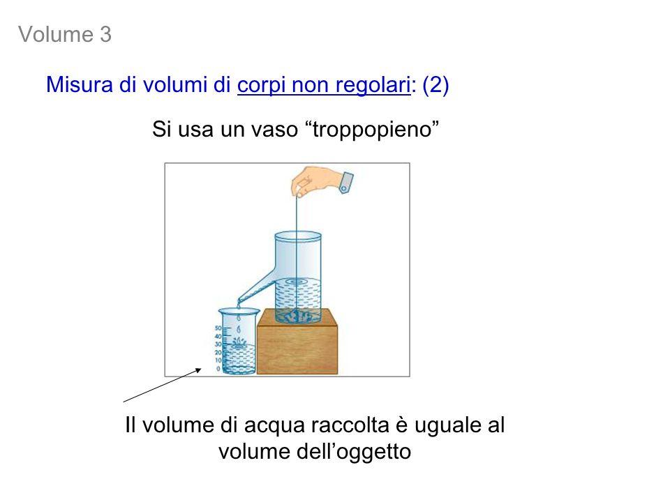 Si usa un vaso troppopieno Misura di volumi di corpi non regolari: (2) Il volume di acqua raccolta è uguale al volume delloggetto Volume 3