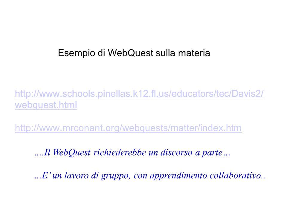 Esempio di WebQuest sulla materia http://www.schools.pinellas.k12.fl.us/educators/tec/Davis2/ webquest.html ….Il WebQuest richiederebbe un discorso a