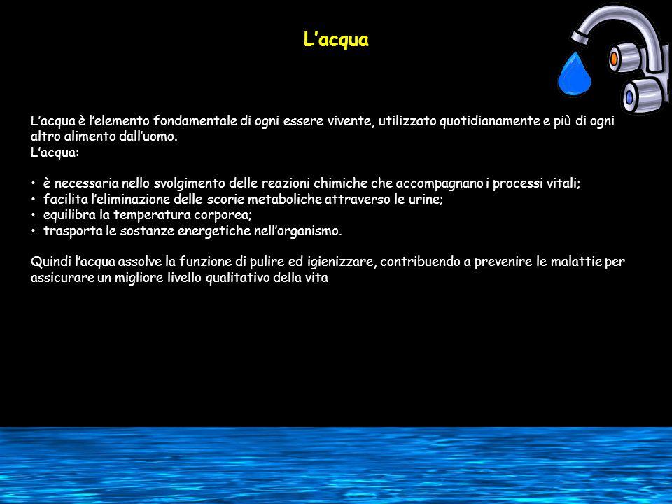 Lacqua Lacqua è lelemento fondamentale di ogni essere vivente, utilizzato quotidianamente e più di ogni altro alimento dalluomo. Lacqua: è necessaria