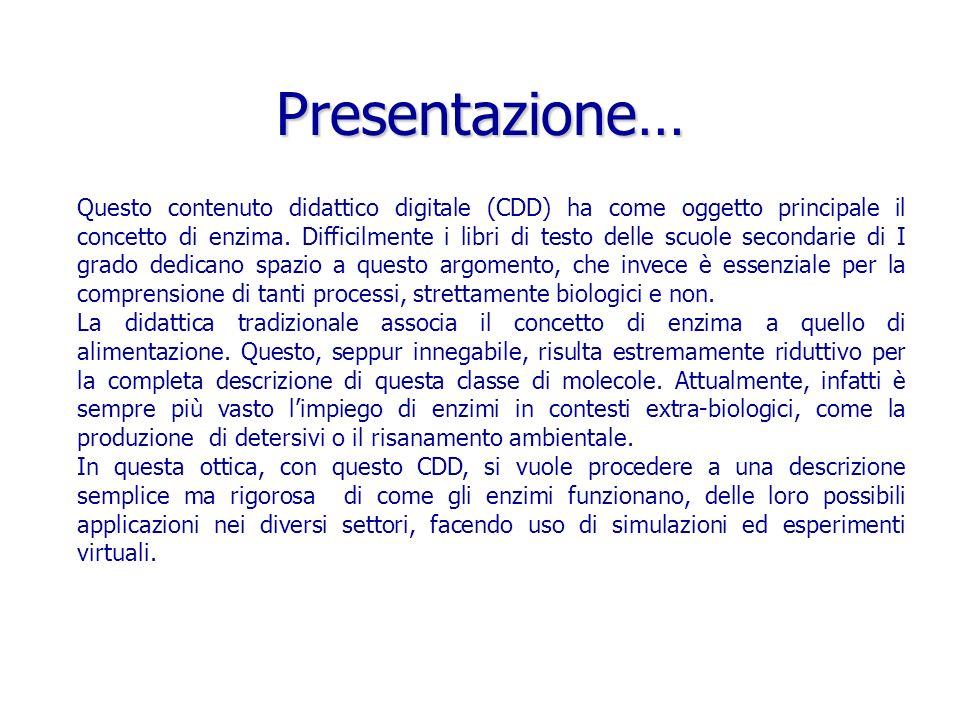 Presentazione… Questo contenuto didattico digitale (CDD) ha come oggetto principale il concetto di enzima. Difficilmente i libri di testo delle scuole