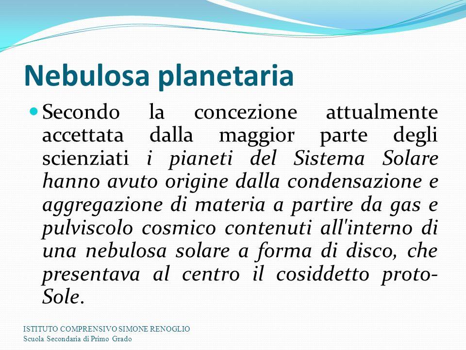 Nebulosa planetaria Secondo la concezione attualmente accettata dalla maggior parte degli scienziati i pianeti del Sistema Solare hanno avuto origine
