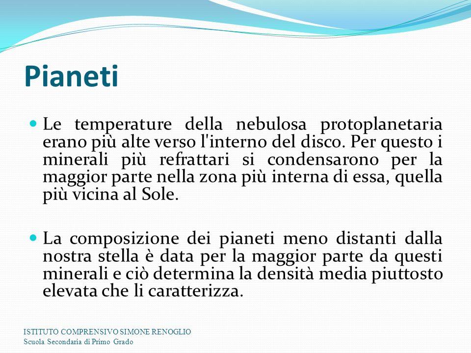 Pianeti Le temperature della nebulosa protoplanetaria erano più alte verso l'interno del disco. Per questo i minerali più refrattari si condensarono p