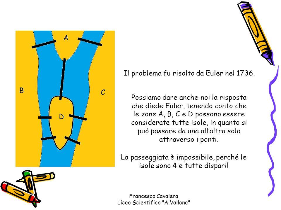 Possiamo dare anche noi la risposta che diede Euler, tenendo conto che le zone A, B, C e D possono essere considerate tutte isole, in quanto si può pa