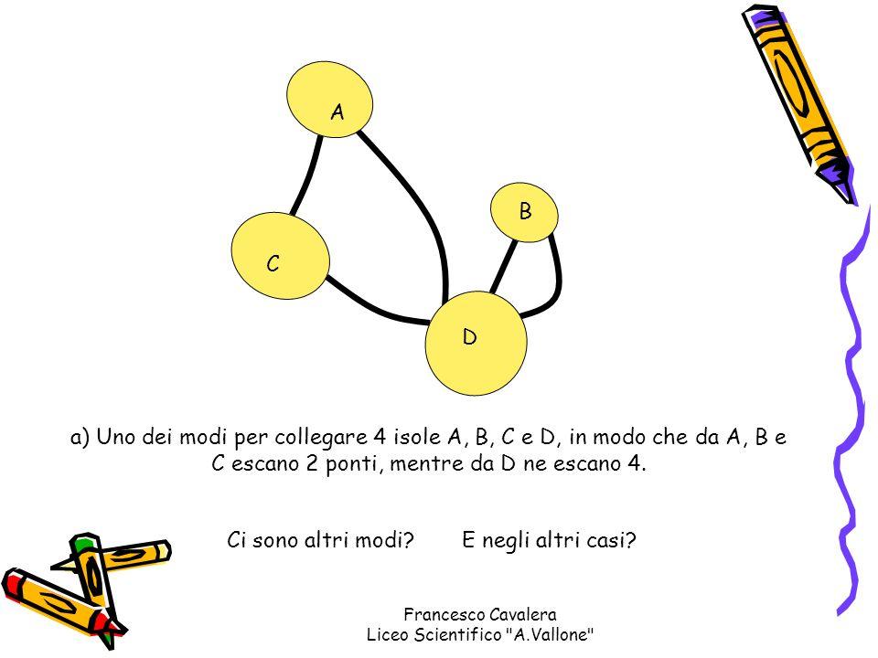 A B C D a) Uno dei modi per collegare 4 isole A, B, C e D, in modo che da A, B e C escano 2 ponti, mentre da D ne escano 4. Ci sono altri modi?E negli