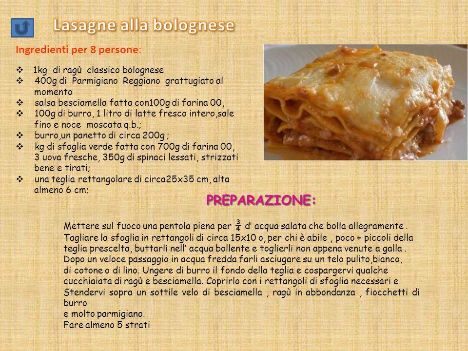 Le ricette tipiche dellEmilia Romagna Tortellini in brodo Lasagne alla bolognese Zuppa reale Gli straccetti Cotechino con polenta Zampone con lenticch