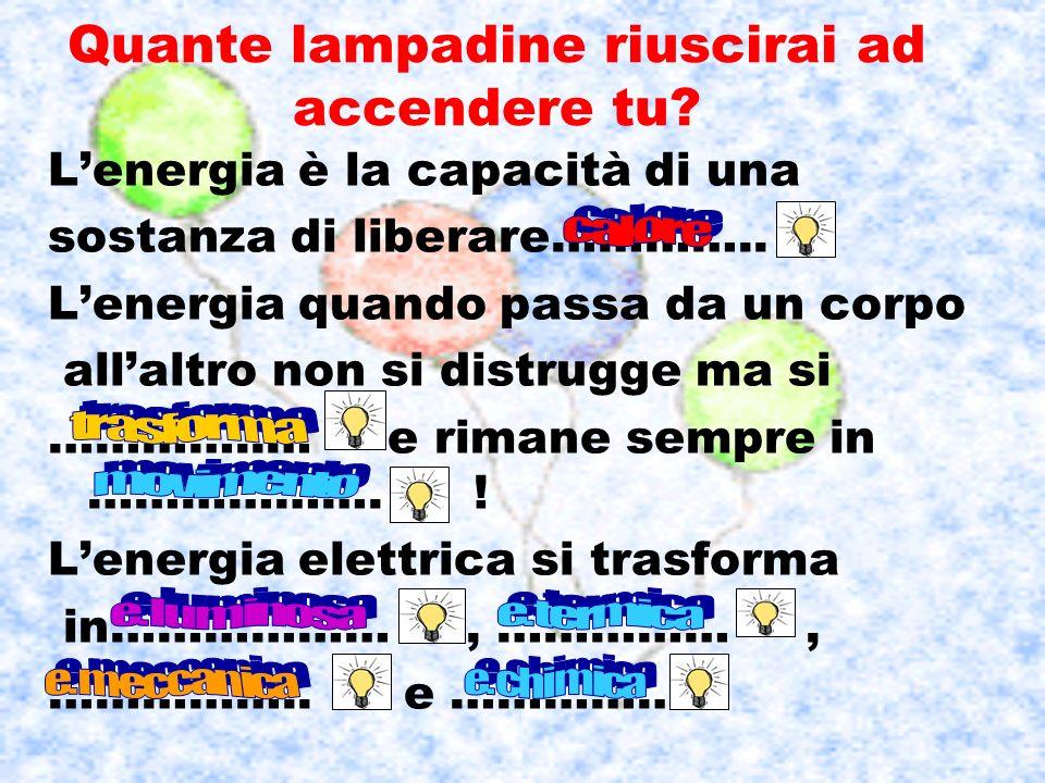 Quante lampadine riuscirai ad accendere tu? Lenergia è la capacità di una sostanza di liberare………….. Lenergia quando passa da un corpo allaltro non si
