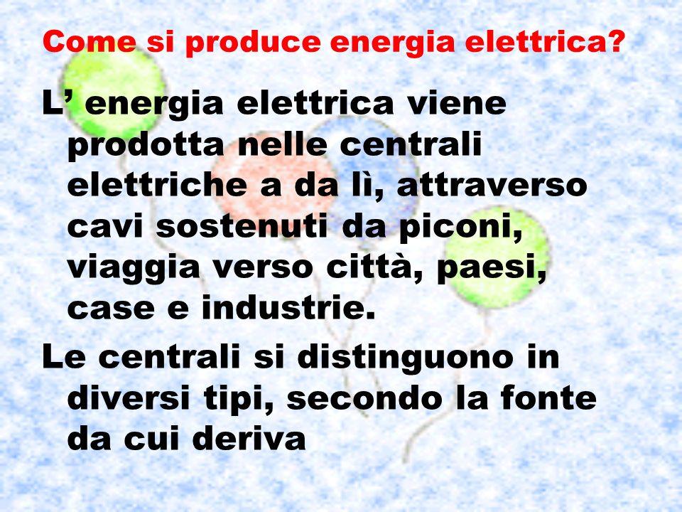 Come si produce energia elettrica? L energia elettrica viene prodotta nelle centrali elettriche a da lì, attraverso cavi sostenuti da piconi, viaggia