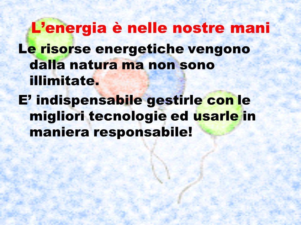 Lenergia è nelle nostre mani Le risorse energetiche vengono dalla natura ma non sono illimitate. E indispensabile gestirle con le migliori tecnologie
