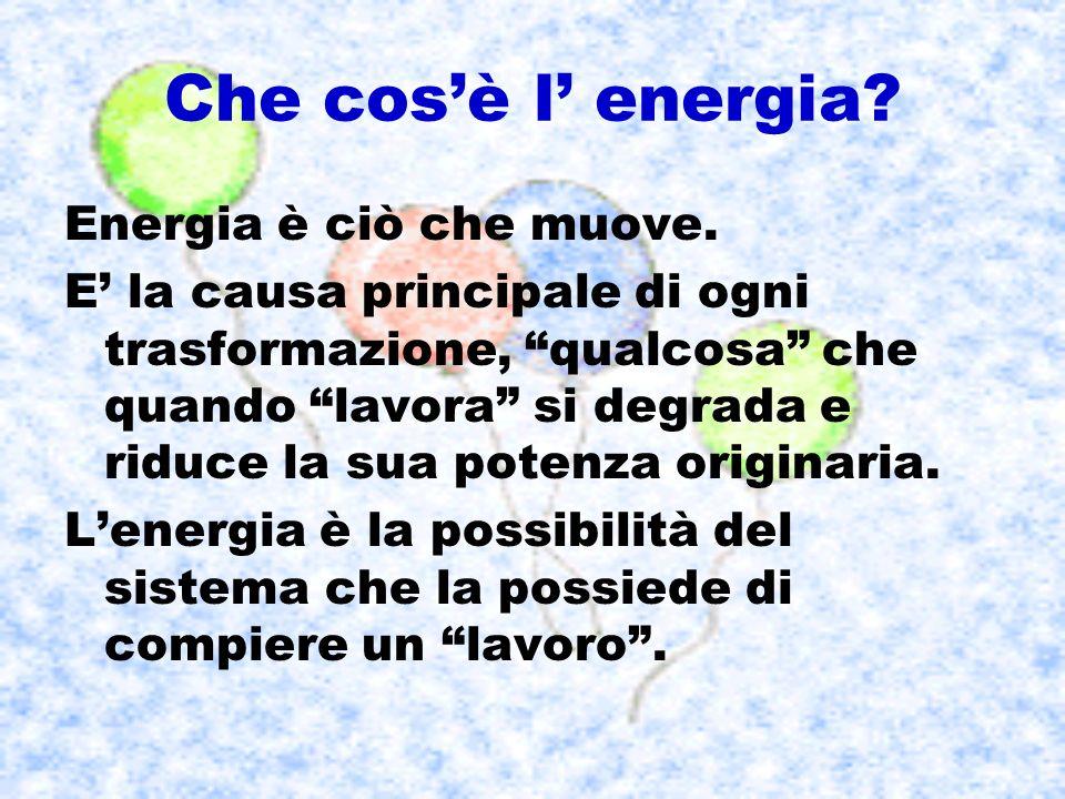 Che cosè l energia? Energia è ciò che muove. E la causa principale di ogni trasformazione, qualcosa che quando lavora si degrada e riduce la sua poten