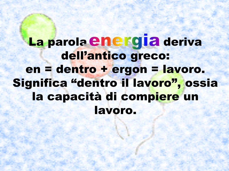 La parola deriva dellantico greco: en = dentro + ergon = lavoro. Significa dentro il lavoro, ossia la capacità di compiere un lavoro.