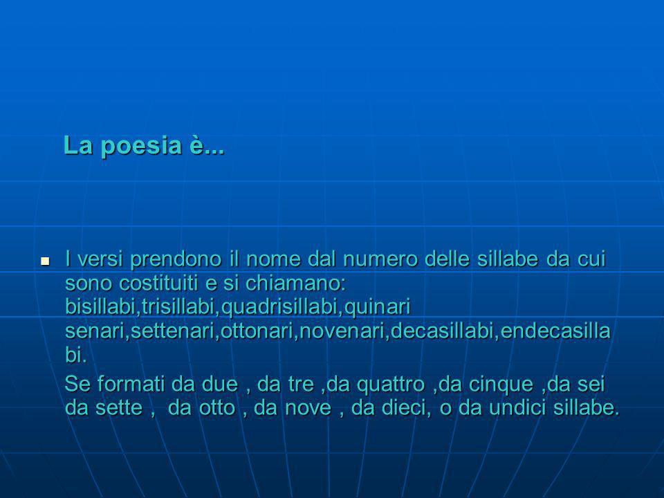 La poesia è... Livello della struttura … Il verso Il verso è il rigo della poesia Livello della struttura … Il verso Il verso è il rigo della poesia L