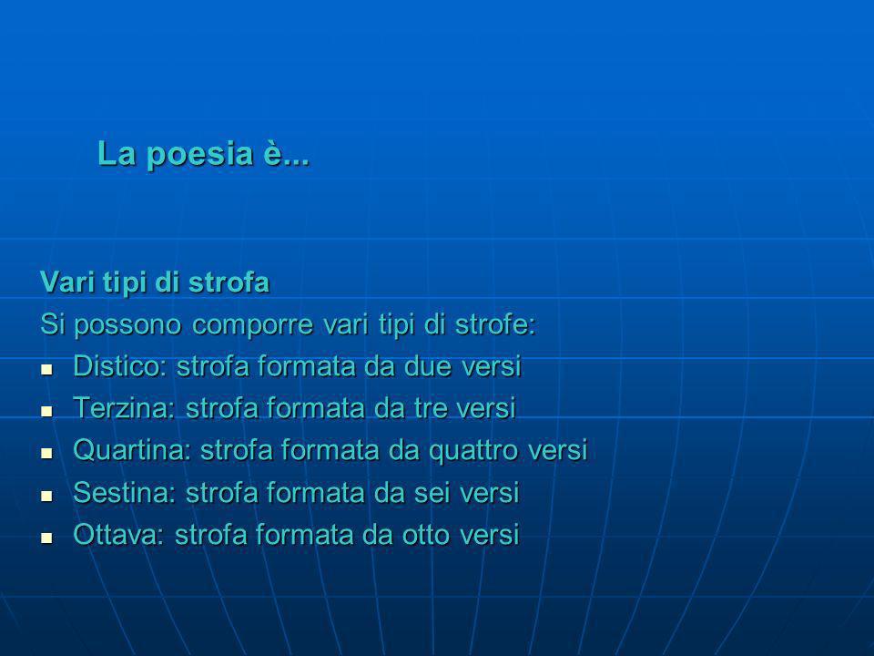 La poesia è... La strofa La strofa La strofa indica il raggruppamento di più versi, ordinati fra loro secondo criteri di ritmo e rima La strofa indica