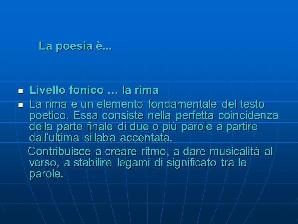 La poesia è... Vari tipi di strofa Si possono comporre vari tipi di strofe: Distico: strofa formata da due versi Distico: strofa formata da due versi
