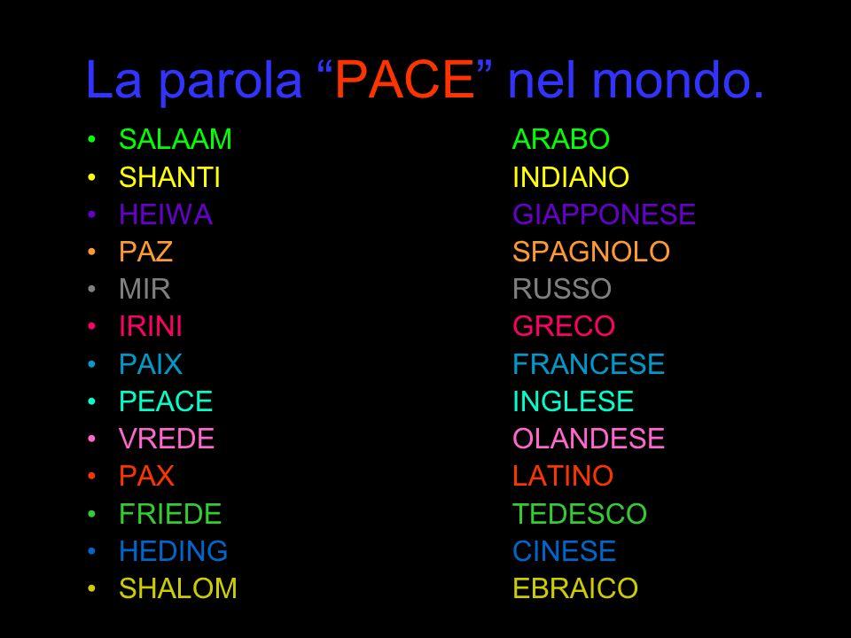 La parola PACE nel mondo. SALAAMARABO SHANTIINDIANO HEIWAGIAPPONESE PAZSPAGNOLO MIRRUSSO IRINIGRECO PAIXFRANCESE PEACEINGLESE VREDEOLANDESE PAXLATINO