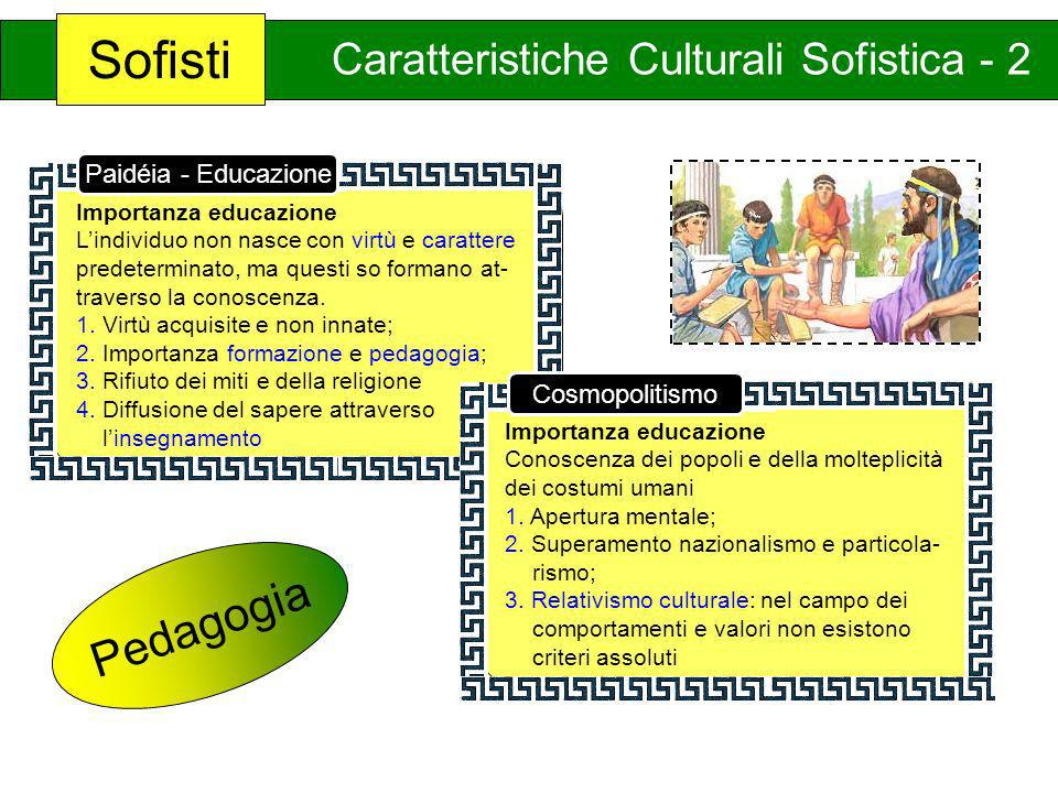 Sofisti Caratteristiche Culturali Sofistica - 2 Importanza educazione Lindividuo non nasce con virtù e carattere predeterminato, ma questi so formano