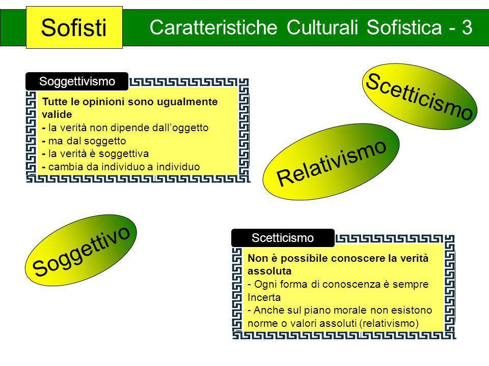 Sofisti Caratteristiche Culturali Sofistica - 3 Tutte le opinioni sono ugualmente valide - la verità non dipende dalloggetto - ma dal soggetto - la ve