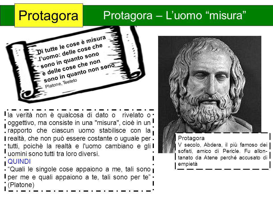 Di tutte le cose è misura luomo: delle cose che sono in quanto sono e delle cose che non sono in quanto non sono Platone, Teeteto Caratteristiche Cult