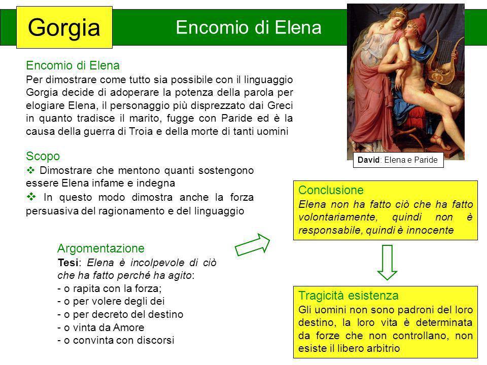 Gorgia Encomio di Elena Per dimostrare come tutto sia possibile con il linguaggio Gorgia decide di adoperare la potenza della parola per elogiare Elen