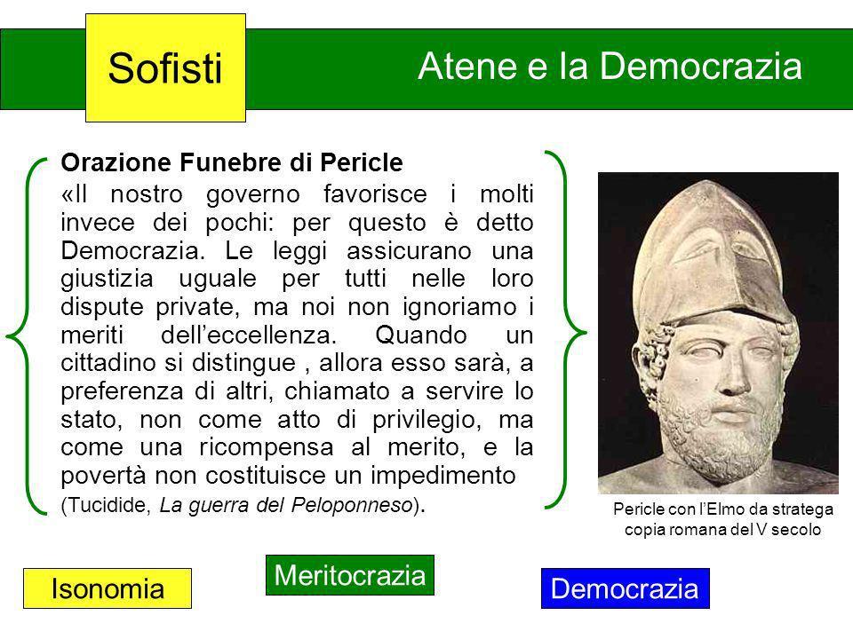 Atene e la Democrazia Orazione Funebre di Pericle «Il nostro governo favorisce i molti invece dei pochi: per questo è detto Democrazia. Le leggi assic