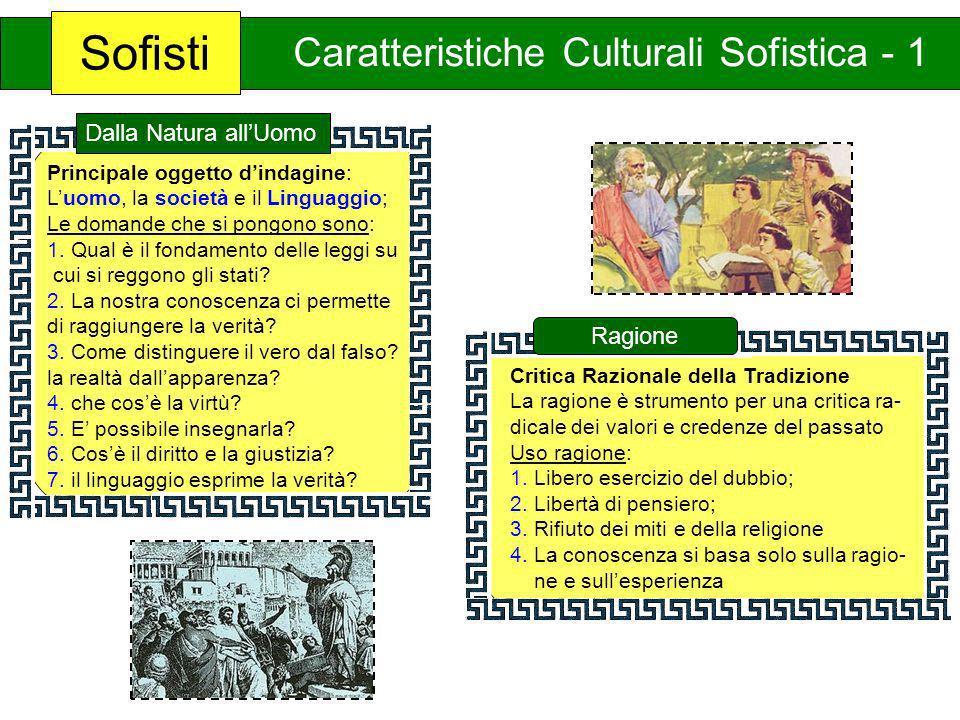 Sofisti Caratteristiche Culturali Sofistica - 1 Critica Razionale della Tradizione La ragione è strumento per una critica ra- dicale dei valori e cred