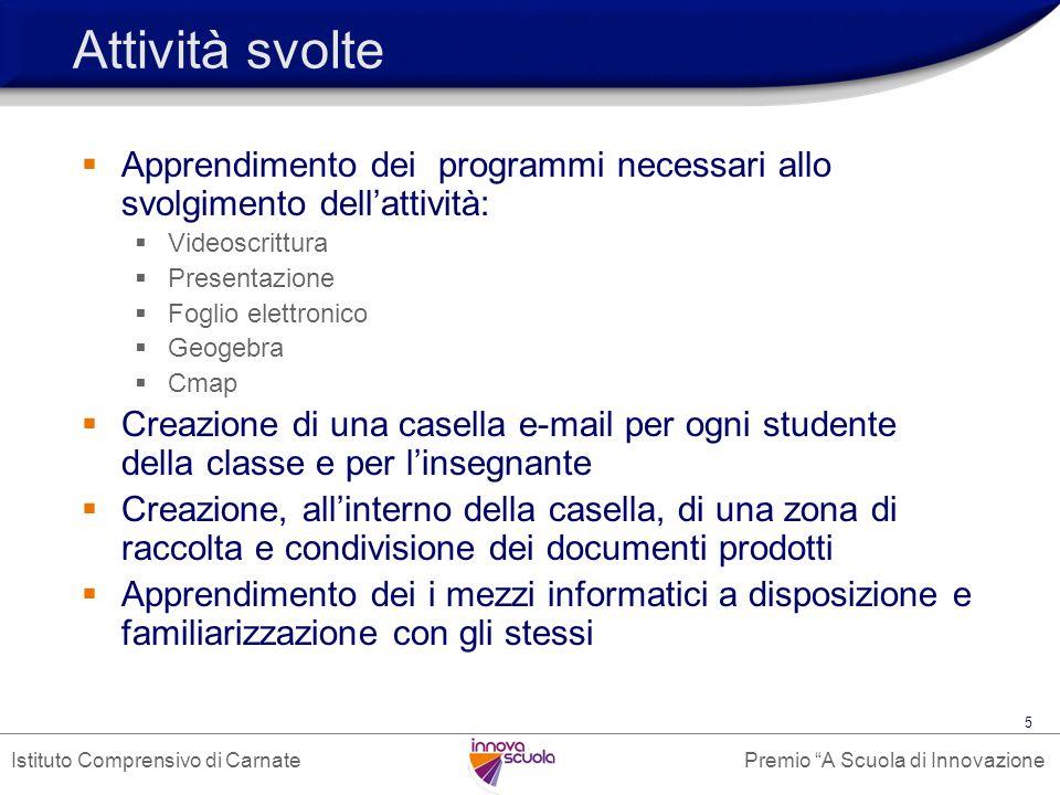 Premio A Scuola di InnovazioneIstituto Comprensivo di Carnate 6 Esempi di utilizzo Fase 1: gli studenti elaborano dei documenti utilizzando i programmi che conoscono