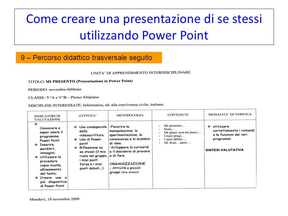 Come creare una presentazione di se stessi utilizzando Power Point 9 – Percorso didattico trasversale seguito