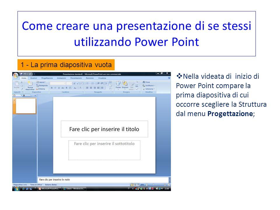 Come creare una presentazione di se stessi utilizzando Power Point Nella videata di inizio di Power Point compare la prima diapositiva di cui occorre