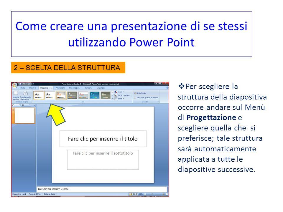 Come creare una presentazione di se stessi utilizzando Power Point Per scegliere la struttura della diapositiva occorre andare sul Menù di Progettazio