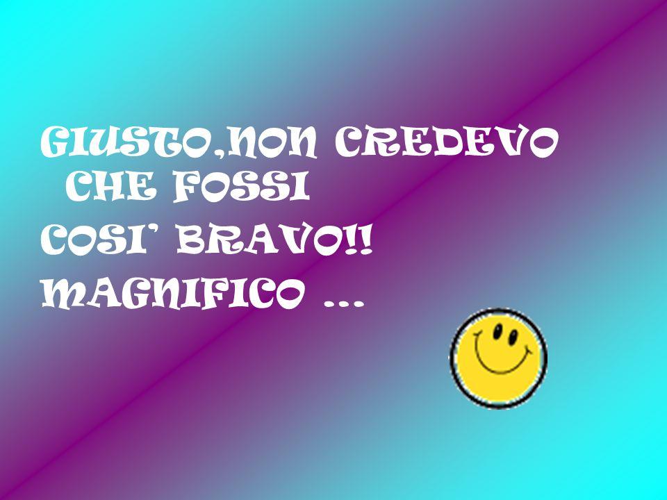 GIUSTO,NON CREDEVO CHE FOSSI COSI BRAVO!! MAGNIFICO …