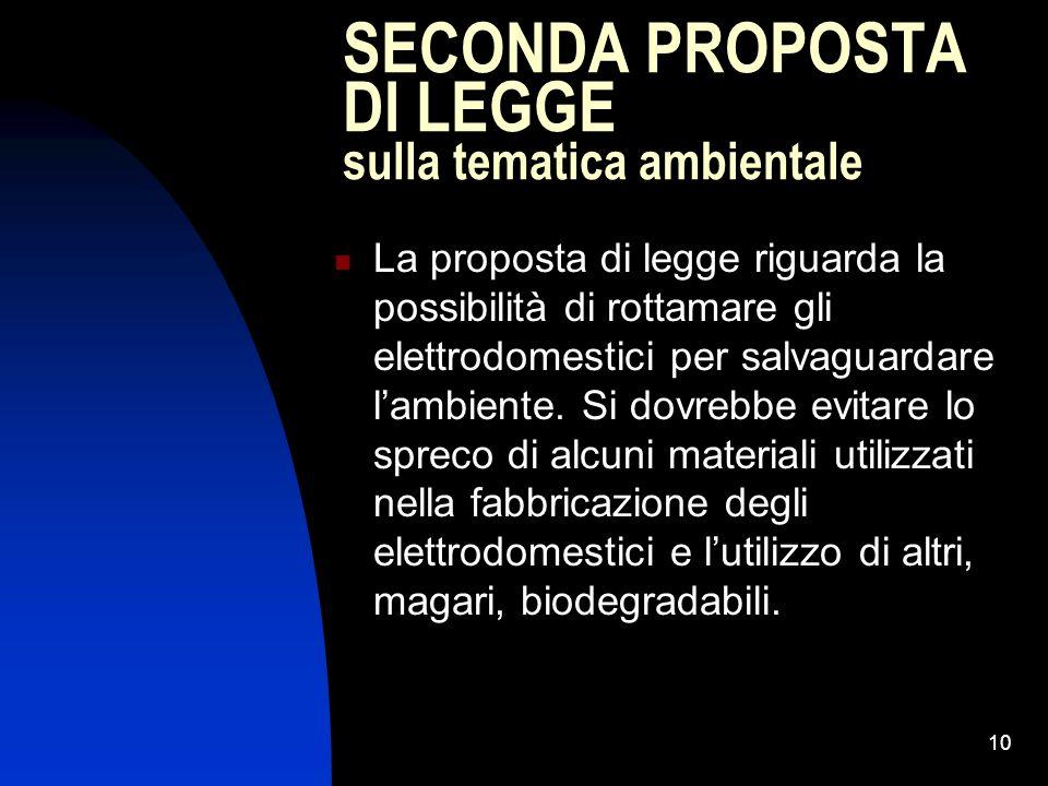 10 SECONDA PROPOSTA DI LEGGE sulla tematica ambientale La proposta di legge riguarda la possibilità di rottamare gli elettrodomestici per salvaguardare lambiente.