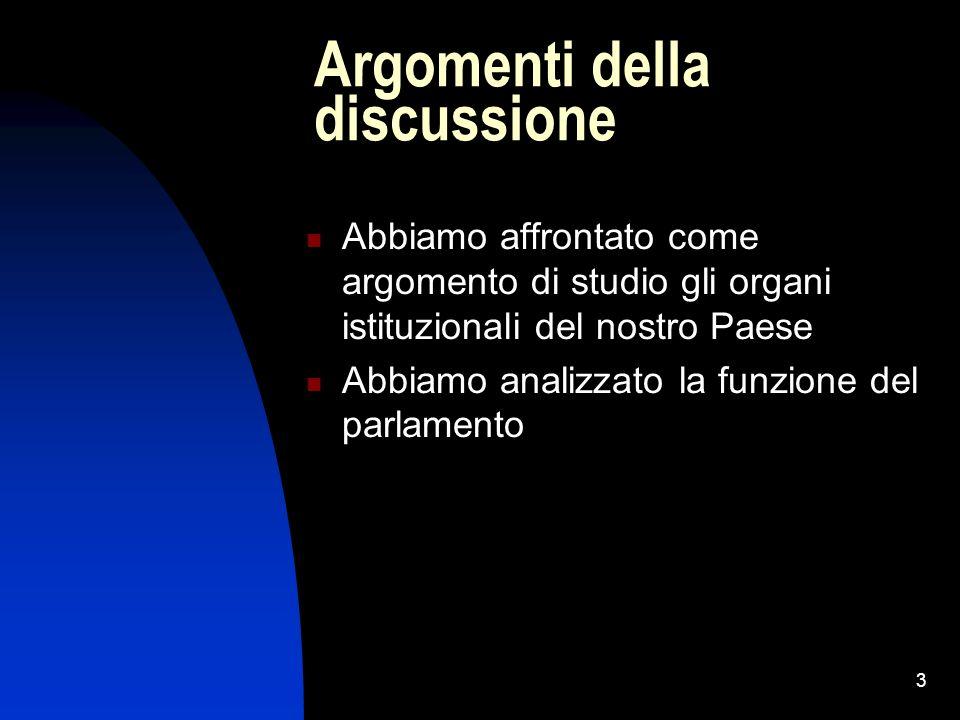3 Argomenti della discussione Abbiamo affrontato come argomento di studio gli organi istituzionali del nostro Paese Abbiamo analizzato la funzione del parlamento