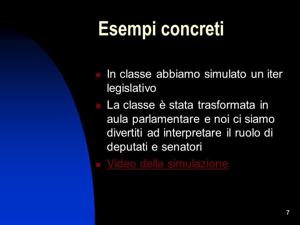 7 Esempi concreti In classe abbiamo simulato un iter legislativo La classe è stata trasformata in aula parlamentare e noi ci siamo divertiti ad interpretare il ruolo di deputati e senatori Video della simulazione
