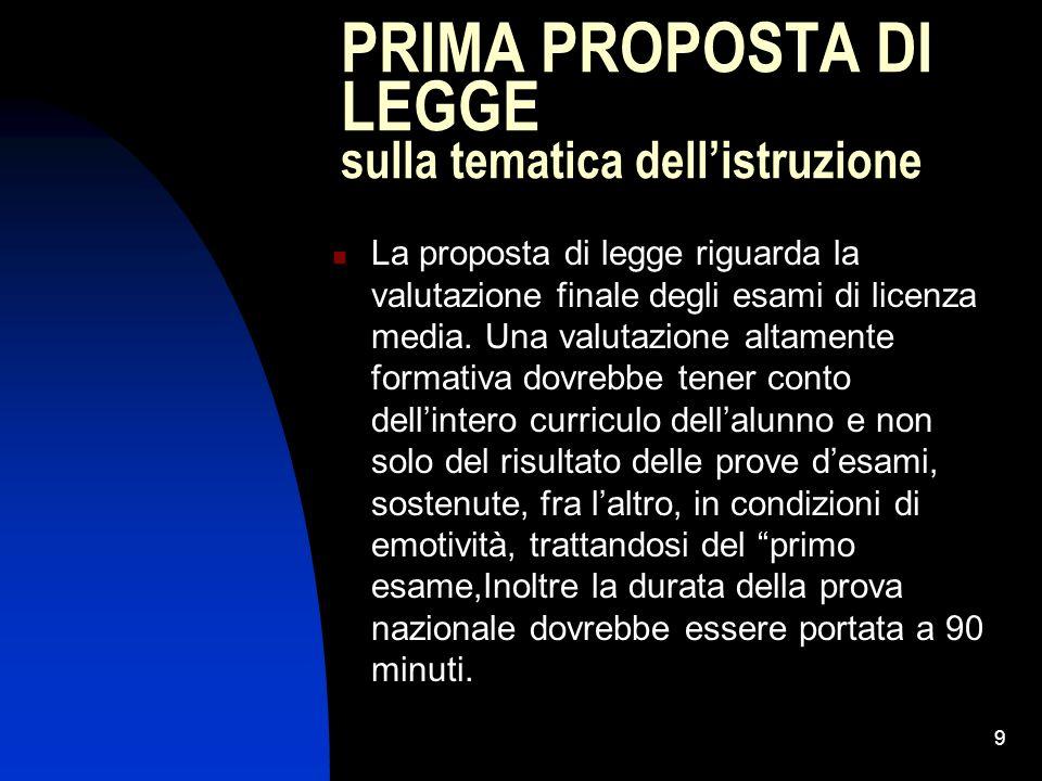 9 PRIMA PROPOSTA DI LEGGE sulla tematica dellistruzione La proposta di legge riguarda la valutazione finale degli esami di licenza media.