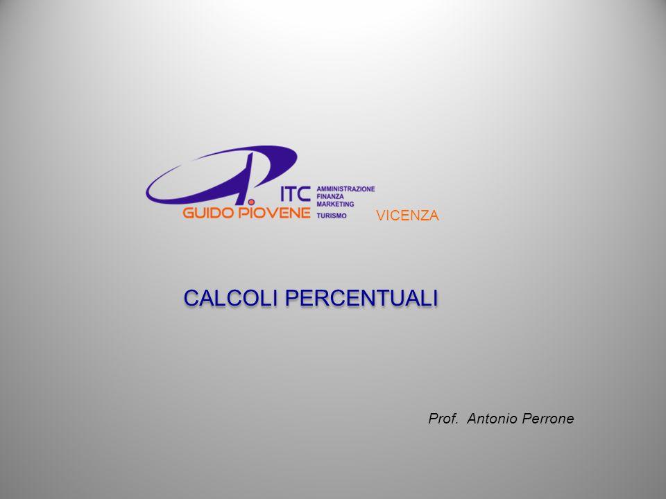 CALCOLI PERCENTUALI VICENZA Prof. Antonio Perrone