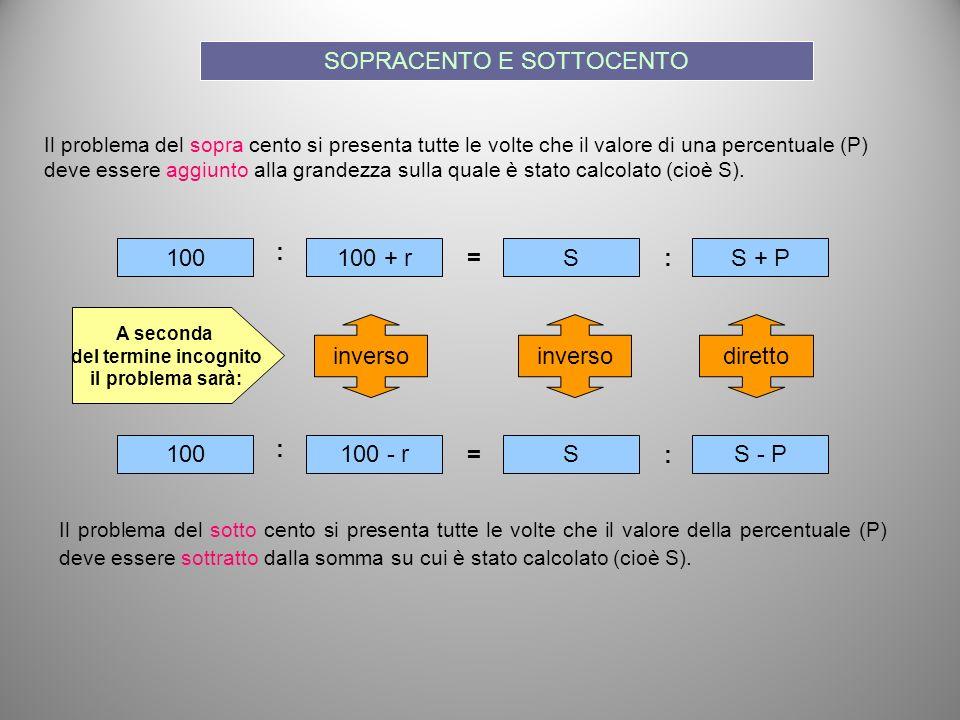 Il problema del sopra cento si presenta tutte le volte che il valore di una percentuale (P) deve essere aggiunto alla grandezza sulla quale è stato ca
